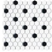 White and Black Hexagon Mosaics Porcelain
