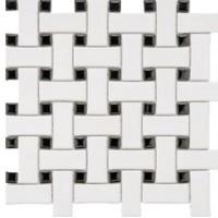 Black and White Porcelain Basketweave Mosaics