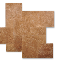 Noce Travertine Honed Straight Edge Versailles Pattern