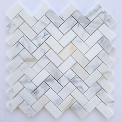 Calacatta Marble HONED 1×2 Herringbone Mosaics