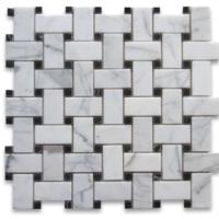 Honed Basketweave Calacatta Mosaics With Black Dots