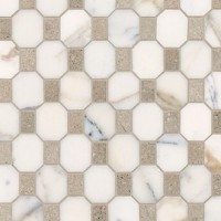 Honed Calacatta Marble Octagon With Verde Rustico Rectangles