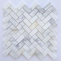 1x2 Herringbone Calacatta Marble Polished