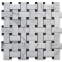 Calacatta Basketweave Marble Polished with Black dot