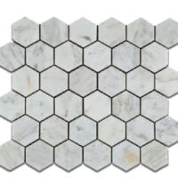 2x2 Honed Ocean White Hexagon