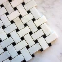 Honed Basketweave Ocean White Marble
