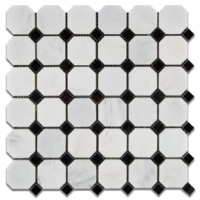 Honed Ocean White Marble Octagon with Black Dots