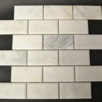 2x4 Beveled Honed Ocean White Marble