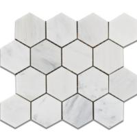 3x3 Honed Ocean White Marble Hexagons