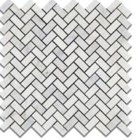 Mini Herringbone Ocean White Marble Polished Mosaics